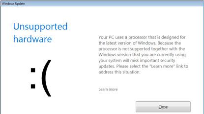 A Microsoft blokkolja a régebbi Windows-frissítéseket új CPU-k mellett