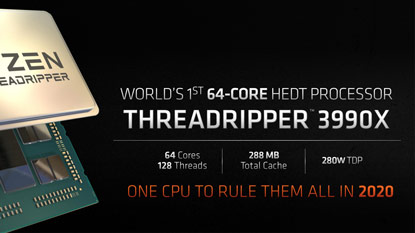 Az AMD bejelentette a 64 magos Ryzen Threadripper 3990X CPU-t
